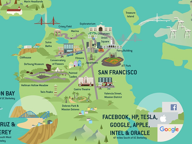 Bay Area Map for UC Berkeley Admissions Brochure by ...