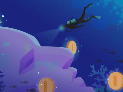 Premium Games Portal Promotion for Google Play scuba diving hidden treasure play store coin sea promotion merchandising premium google games