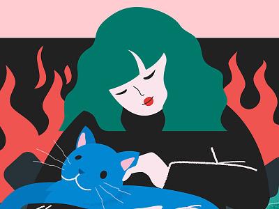 Cozy Cat Day pastel minimalist graphic flat vector illustration cozy cat