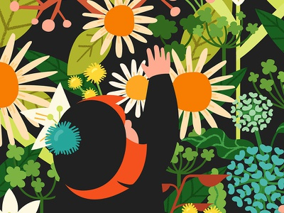 Girl With Flowers motif pattern flat vector illustration floral girl flowers