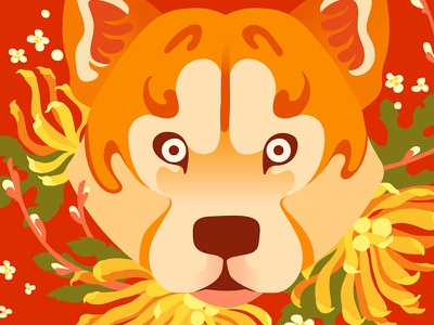 Year of the Dog Art Show year of the dog chow chow shiba inu chinese graphic flat vector illustration dog pug corgi lab