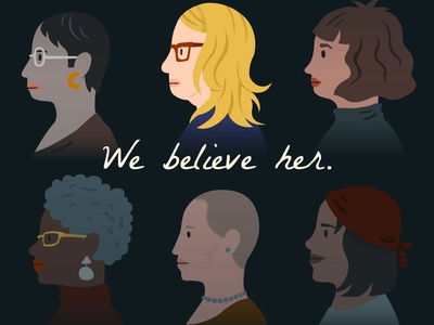 We Believe Her we believe her me too womens rights political vector illustration
