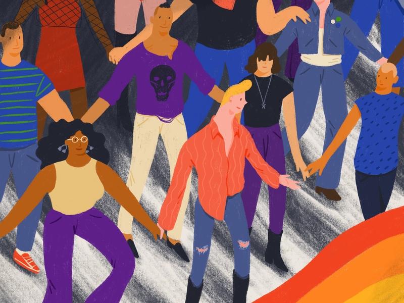 Pride 2019 Illustration pride march lgbtq procreate flat graphic illustration