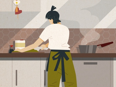 My Mother's Back korean cooking home artist collective charity flat vector illustration