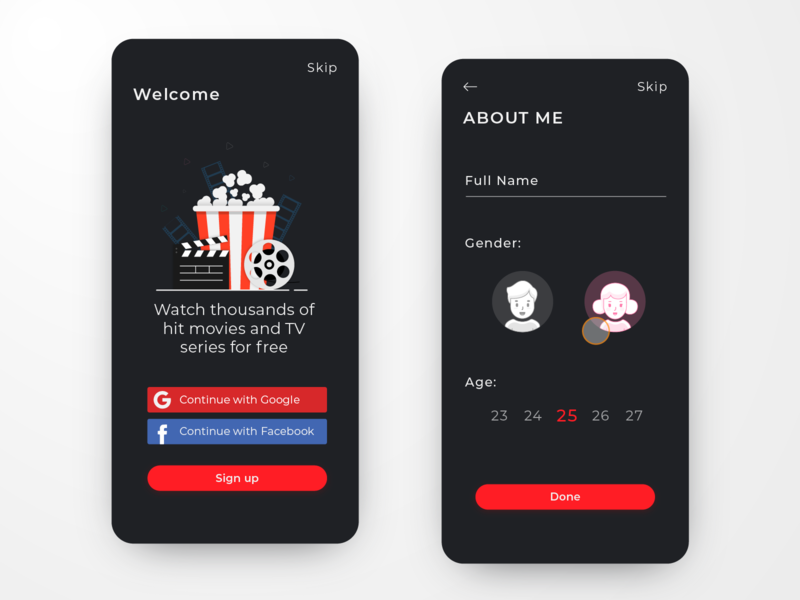 Movie App Sign up male mobile minimal gooddesigngd login screen login page login form form name gender tv series tv app tv show film tv google facebook login signup movie
