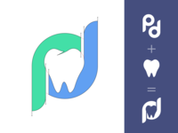 Professional Dent Logo process medical blue green pd teeth tooth dentist dental gooddesigngd logo