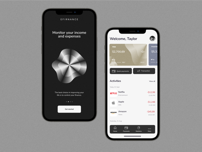 Mobile online banking solution for financial activity debit wallet dashboard credit card banking card user experience user interface web design personal finance money app app design ux mobile ui mobile mobile app mobile design banking app fintech app financial app