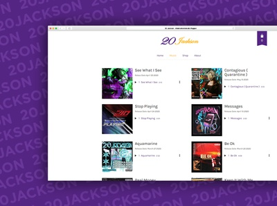 20 Jackson // Website Development websites sisivisual 20jackson music web development website concept website design ux website ui design