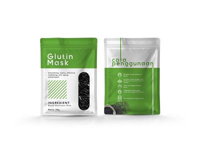Glutin Mask - Green flat minimal packaging design branding