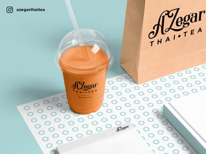 AZegar Thai Tea Cup Design branding aesthetic packaging logo design