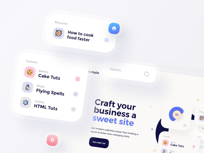Rushpie   Components color brand design iconography clean ux ui mobile minimal web design icon food components cards