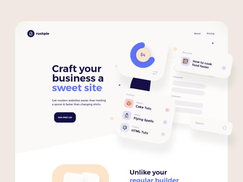 Rushpie Website Design iconography website branding cards flat clean brand ux ui minimal design