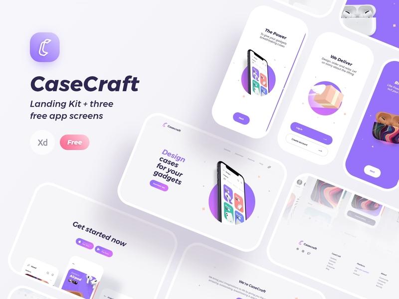 CaseCraft Landing Kit landing page free freebie kit color iconography app mobile clean brand ux ui minimal design