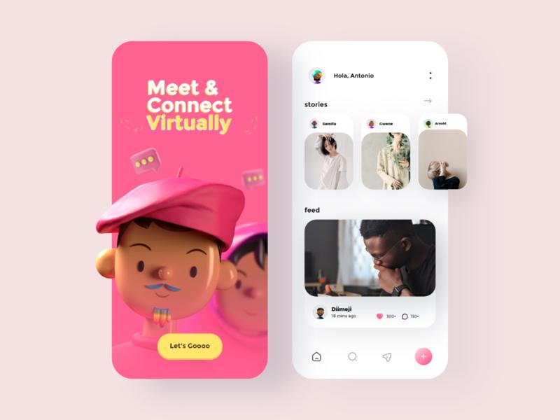 Social media App design: Intro & Home pink clean color illustration cards iconography app ux ui minimal design