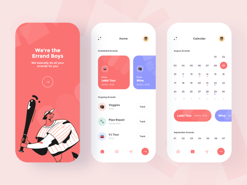Errand Boys App Design illustration color mobile app brand clean ux ui minimal design