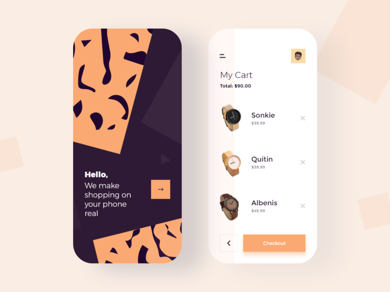 Shopping App pattern cart watch flat color e-commerce mobile clean app ux ui minimal design