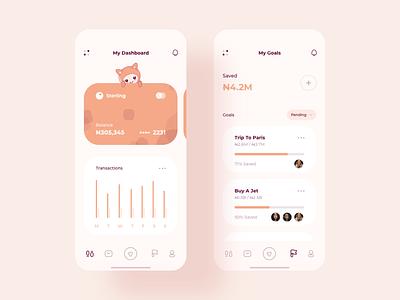 Finance App Concept bank orange finance wallet dashboard minimal cards flat ux ui e-commerce design clean character app mobile