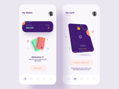 Empty State Design cards card bank wallet ui ux minimal mobile app clean emptystate design