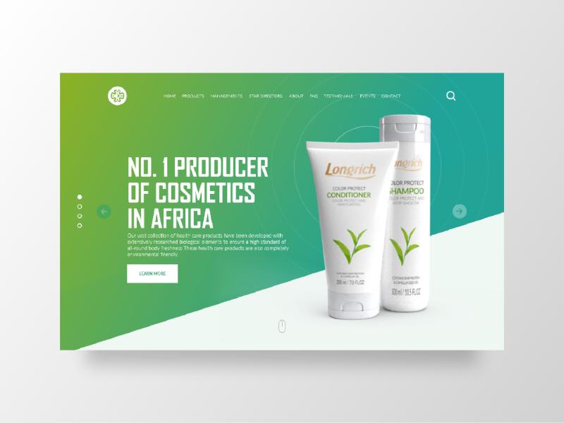 Longrich Web Ui Design cosmetics website landing page