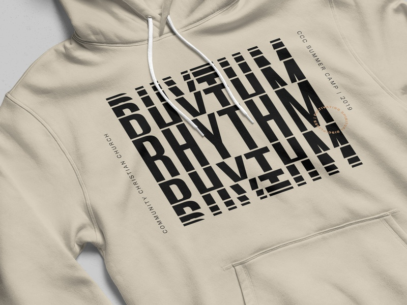 Rhythm Rhythm Rhythm tan hoodie mockup hoodies design loop cycle typography type pattern rhythm