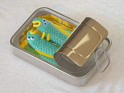 Sardine around render c4d fish can character sardines 3d