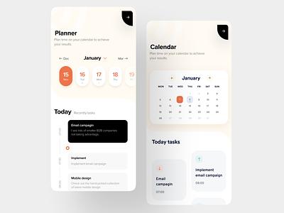 Planner App: UX/UI mobile design for time management app design ios design ui mobile ux mobile to do todo planning dashboard mobile design ux ui product design time managment planner mobile app schedule calendar