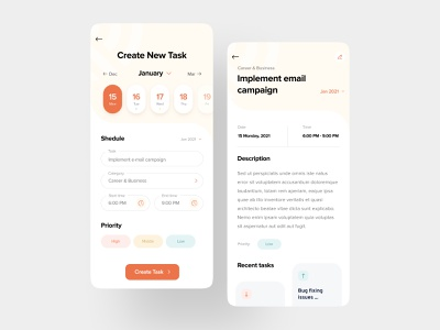 Planner for time management - create tasks and plan to-do list task list planning to do todo task manager ux ui create task time managment planner mobile app schedule