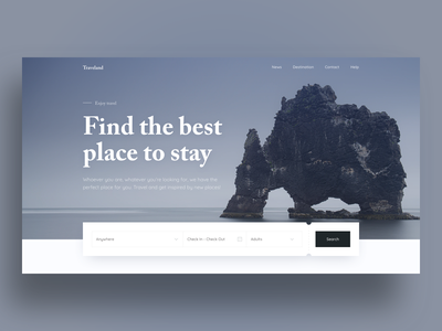 Traveland website form search trip planner trip clean vacation north minimal booking travel hero typography ux habitat hbtat web ui design