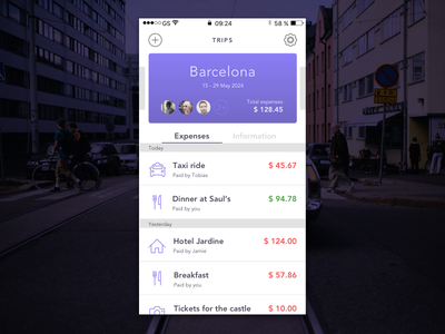 Travel Expense App finance travel design ui ios personal project app mobile