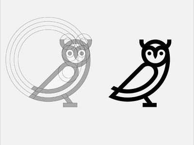 Owl logo logotypo logogrid grid owllogo mark logomark minimal icon owl logo