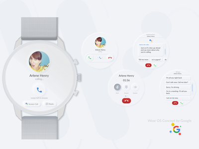 Google Wear OS concept dribble invite dribble vector minimal figma design call typogaphy soft ui watchos smartwatch wearables uplabs google neumorphism skeumorphism skeumorph 2020 trends uitrends ui