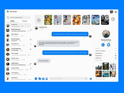 Facebook Messenger web challenge redesign concept chat messenger facebook interaction design product design ux ui 2020 trends uplabs minimal figma illustration design