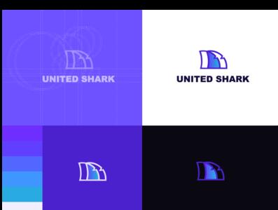 United Shark Logo Design illustration design dribble shot vector logo mark brand guide color palette typography grid lettering typeface design logotype grid design grid logo logo mark design company style guide branding and identity brand identity