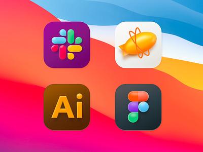 Mac OS Big Sur App Icon dribbble dribbble best shot ui illustrator slack zeplin render logo branding 3d icon app bigsur macos figma uplabs design