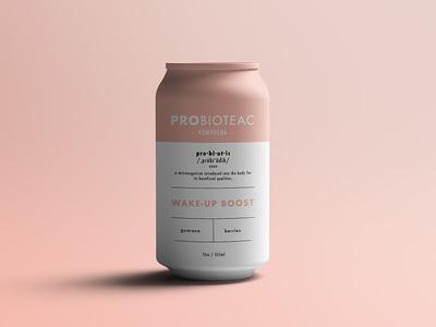 Probioteac Kombucha probiotic healthy mockup can drink product design corporate design kombucha branding