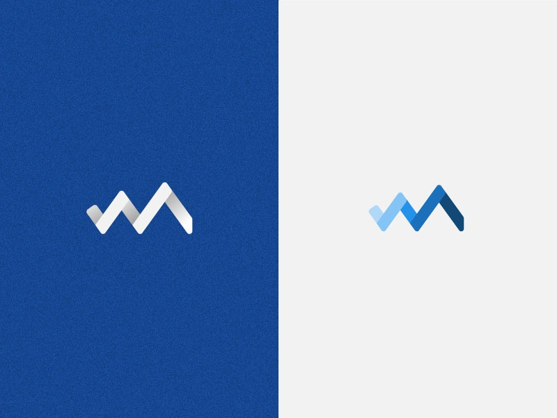 m'mountains / logo design blue madagascar logo m