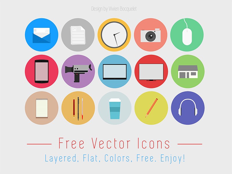 flat design free icon set by vivien bocquelet