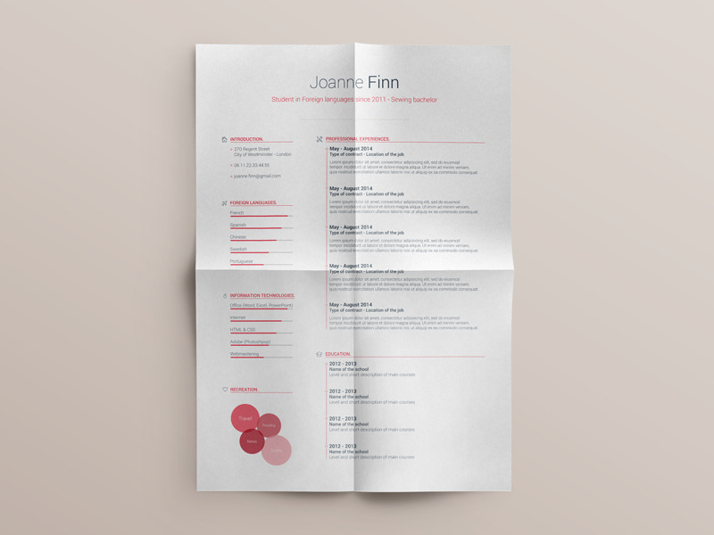 Free Resume template - vol. 2 customizable brand professional colors modern curriculum cv resume flat photoshop template