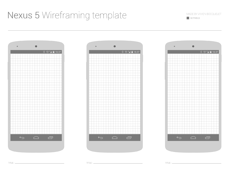 Free Nexus 5 Wireframing template by Vivien Bocquelet on Dribbble