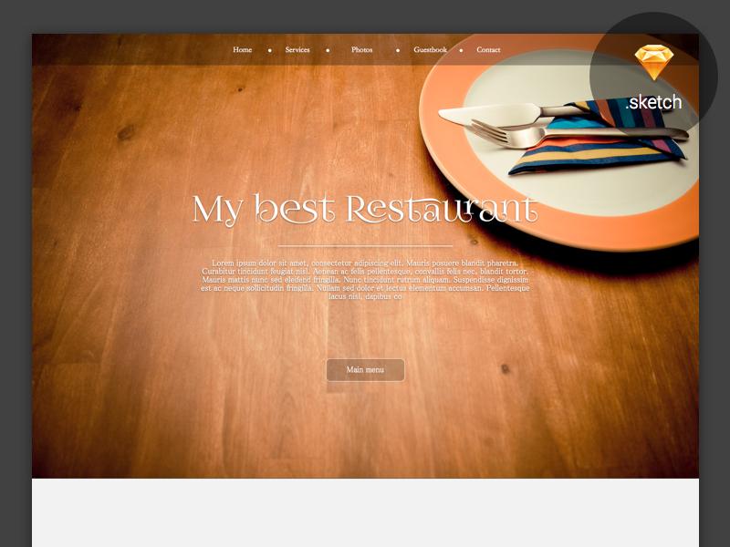 My Best Restaurant - Free .sketch resource sketch design free template ui ux landing brand