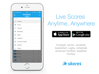 Skores : Live scores Anytime, Anywhere. multi-language mobile smartphone android ios app sport live