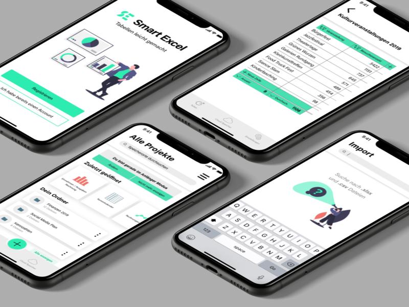 Concept Smart Excel Tables productivity mobile app app design ux design