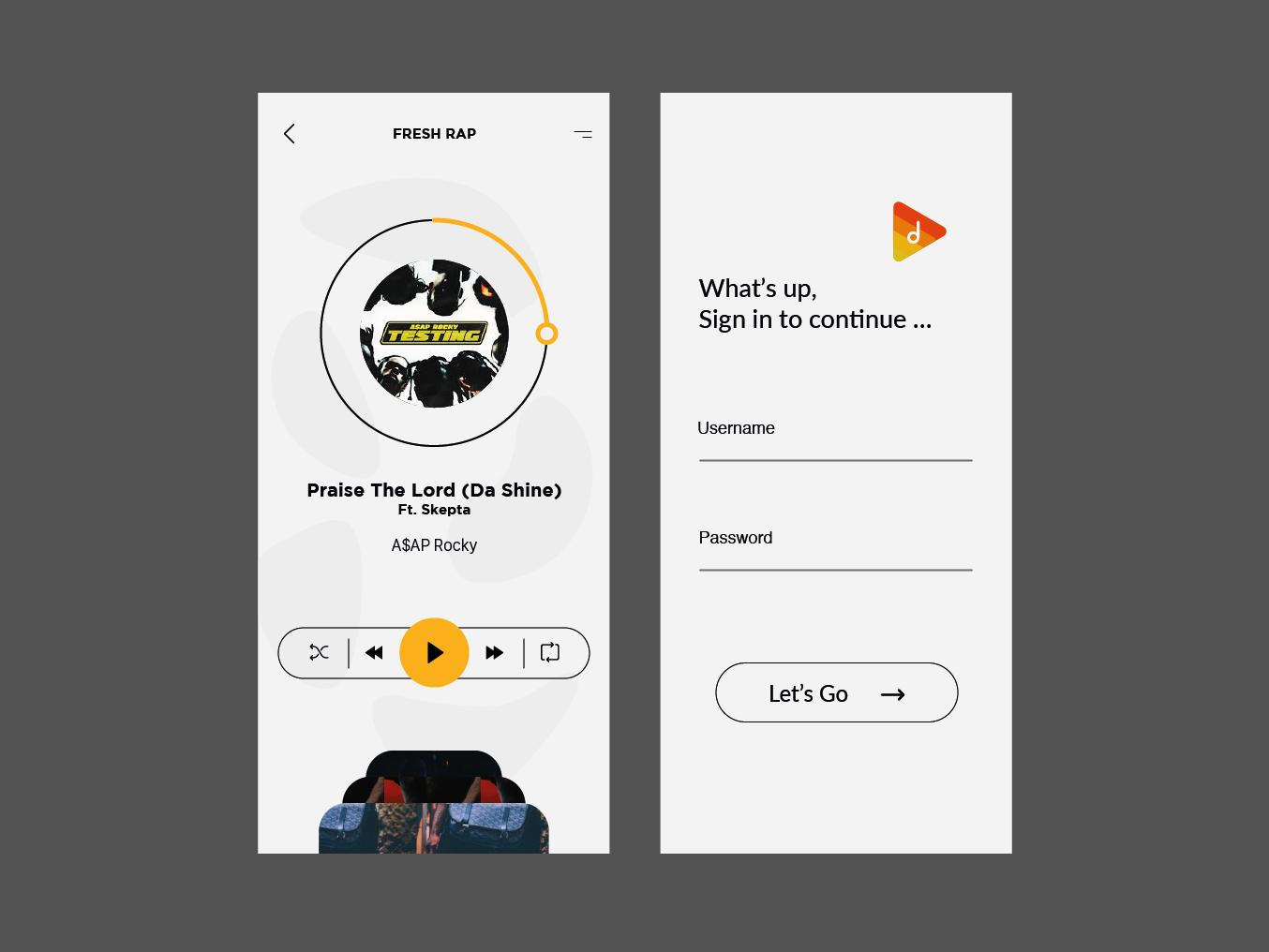 Deez play login page ui ux rap application music asap rocky logo design music app ux ui
