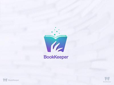 BookKeeper library book concept vector branding black  white art logo dribbble design