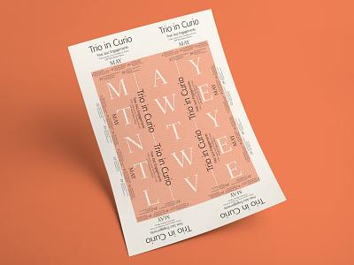 Trio in Curio typography design screen print poster design