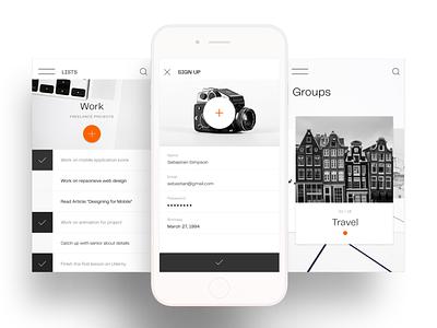 "Concept application ""NOW"" blackandwhite art mobile ui ux mobile app design design mobile mobile app minimal ui"