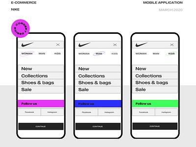 Nike E-commerce mobile app typography redesign nike minimal mobile ui design ux interaction ui