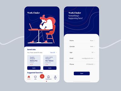 Job Finder Application user experience userinterface creative illustration interaction ui ux mobile app design mobile app mobile