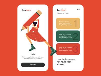 EasyLearn App Design interaction design mobile ui user experience user interface illustraion ui ux app design