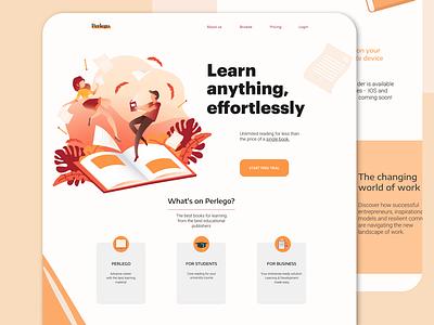E-learning landing page colorful design illustraion ui interaction online landingpage landing